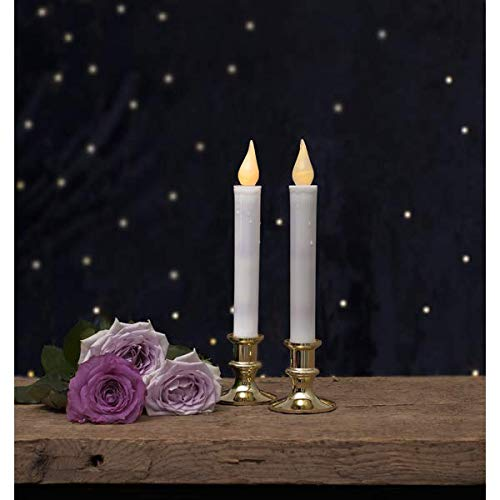 Kamaca Set di 2 candele LED da tavola con piedistallo bianco caldo delicato e luminoso, funzionamento a batteria con timer (2 pezzi, piedistallo dorato)