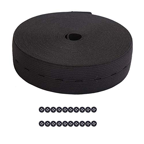 1Inch 11 Yards Buttonhole Knit Stretch Elastic Bands Spool Flat Elastic Belt and 20pcs Resin Buttons (Black)
