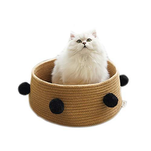 Kat Ronde Bed, Kleine Huisdier Slaapbed Wasbare Mand Pompom Decor Nest voor Katten Puppy Honden, BRON
