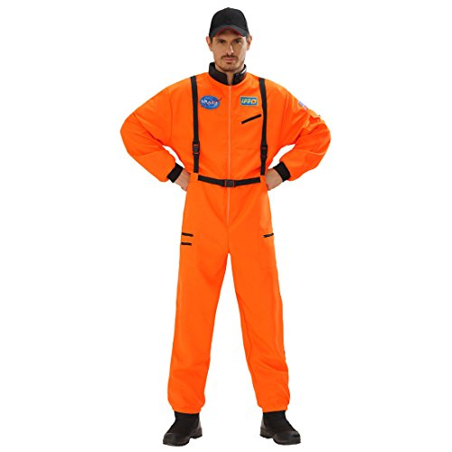 NET TOYS Astronautenanzug Astronauten Kostüm orange S 48 Space Herrenkostüm Astronaut Overall Astronautenkostüm Weltall Faschingskostüm Weltraumanzug Verkleidung Karnevalskostüme Herren Ganzkörper