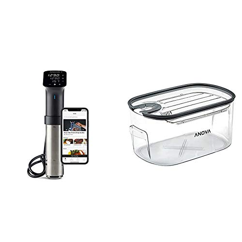 Anova Culinary | Sous Vide Precision Cooker Pro (WiFi) | 1200 Watts | All Metal | Anova App Included & ANTC01 Sous Vide Cooker Cooking container, Holds Up to 16L of Water, With Removable Lid and Rack