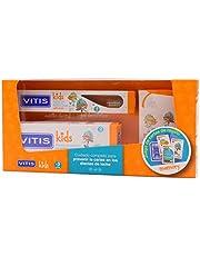 Vitis Kids PACK Gel Dentífrico Con Fluor Sabor Cereza, 50ml+Cepillo Dental +3años, REGALO CARTAS (+3 AÑOS)