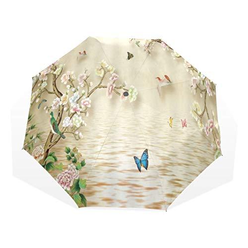 LASINSU Mini Ombrello Portatile Pieghevoli Ombrello Tascabile,Cherry Blossom Flower Retro stile asiatico Spa Gemme floreali Uccelli Farfalla Danza sul lago Art Print,Antivento Leggero Ombrello