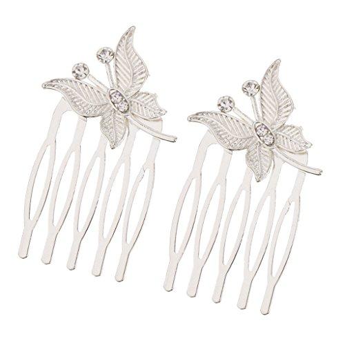 joyMerit Frauen Schmetterling Haarkämme Haarspange Haarnadel Kopfschmuck Haarschmuck - Silber