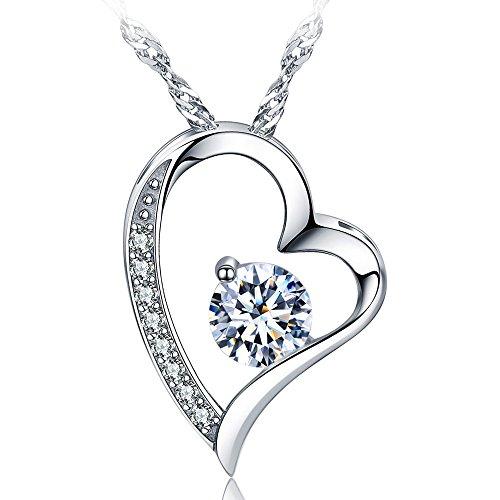 14K White Gold Overlay Sterling Silver Forever Lover Heart Pendant Necklace
