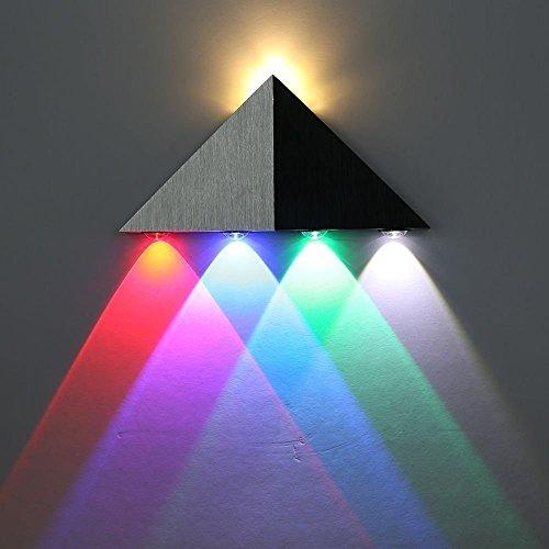 Lightess Apliques de Pared Pirámide Triangular Lámpara 5 LED 5W Lámpara de Pared en Moda de Puro Aluminio Luz Cálida y AgradableLuz de Ambiente Iluminación de Pasillo, Entrada, Docoración Hogar, etc, Multi Color