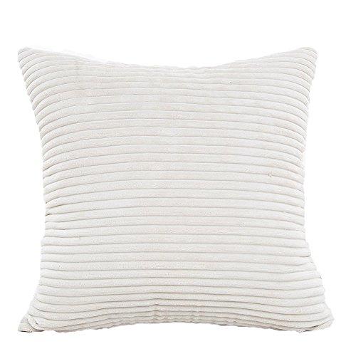 Vi.yo taie d'oreiller polyester housse de coussin en peluche avec fermeture à glissière invisible pour chambre chaise canapé bureau de club de voiture (blanc)