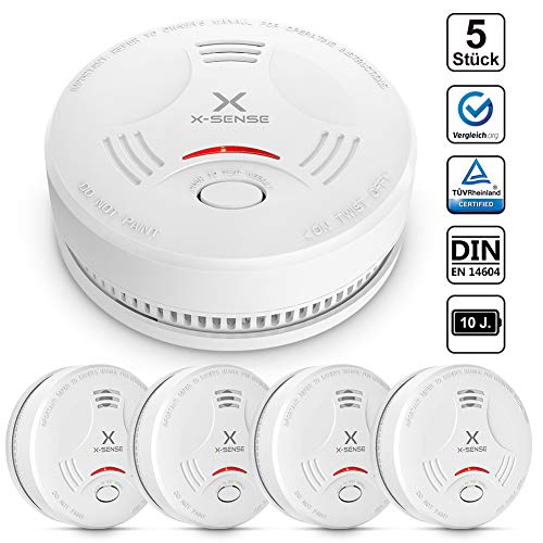 X-Sense Alarma de Humo SD11, Detector Fotoeléctrico de Humo con Alarma de Incendio Inteligente, 10 Años de Duración de la Batería y Chequeo Automático, EN 14604, Certificación CE - 5 Unidades