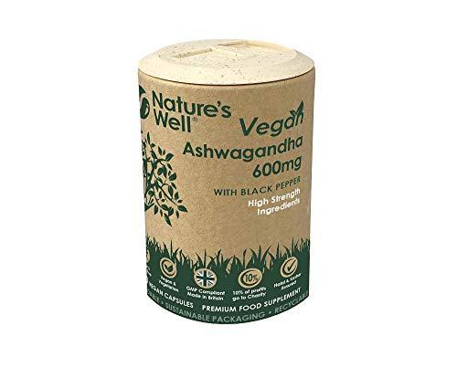 Vegan Ashwagandha with Black Pepper 600mg – 120 High Strength Capsules (1200mg Per Serving) 100% Natural Ayurveda Supplement, Vegetarian and Halal & Kosher.