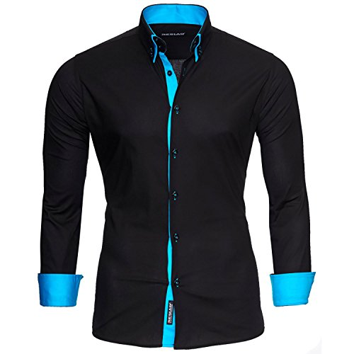 Reslad Herren Hemd Männer Hemden Slim Fit bügelfrei Freizeit Business Langarm 2 Knopf 2 Kragen RS-7050 Schwarz Türkis Gr XXL