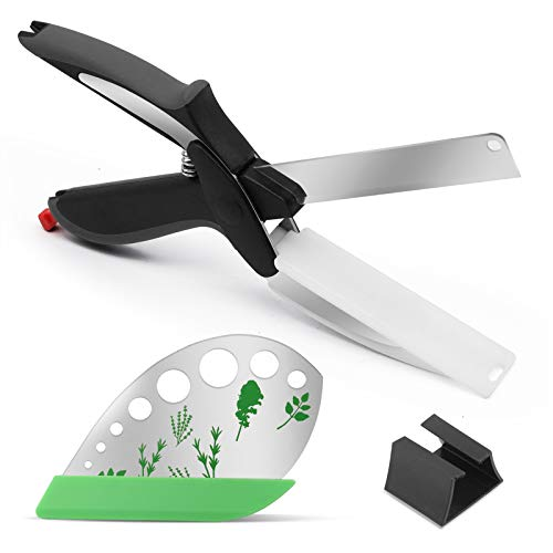 2-in-1 Kitchen Food Cutter Chopper Clever Kitchen Knife with Cutting Board smart cutter kitchen scissors easy smart scissors cutter Stainless Steel Clever Multipurpose Food Scissors with herb stripper