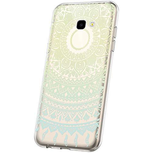 JAWSEU Compatible avec Coque Samsung Galaxy A7 2017 Transparente Silicone Ultra Mince Souple TPU Cristal Clair Housse Coque Mode Belle Fleur Motif Coque de Protection,Mandala#4