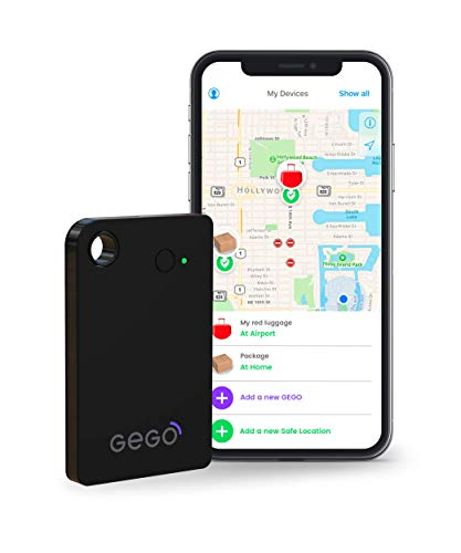 Gego Luggage Tracker - Patented Worldwide Real Time Tracking Device - Travel Baggage GSM Locator (Better Than GPS) Global 3G/Bluetooth with Mobile App (Airline Compliant) No Roaming Charges Black