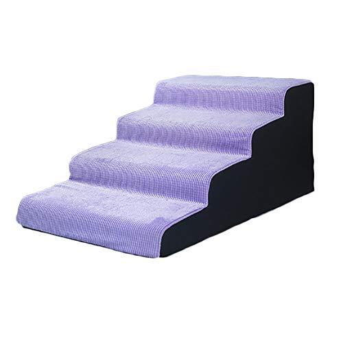 A-ffort 4 Schritt Bett Pet Treppen, Lila Anti-Rutsch-Hunderampe Leiter for Small Medium Large Arthritis Haustier, 35cm / 40cm / 45cm / 50cm hoch (Size : 50×80×40cm)
