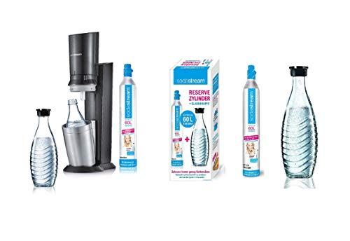 sodastream Crystal 2.0 Wassersprudler mit CO2-Zylinder und 2X Glaskaraffen, Titan + Reservepack mit 1x CO2-Zylinder und 1x 0,6 L Glaskaraffe