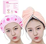 Valentines Day Gifts for Women Mom Wife Her Girls Set of Most Absorbent Hair Towel & Double Layer Shower Cap...