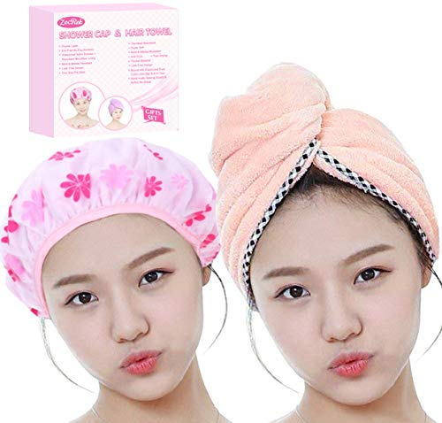 Gifts for Women Girl Set of Most Absorbent Hair Towel & Double Layer Shower Cap w/Premium Gift Box By ZECREK