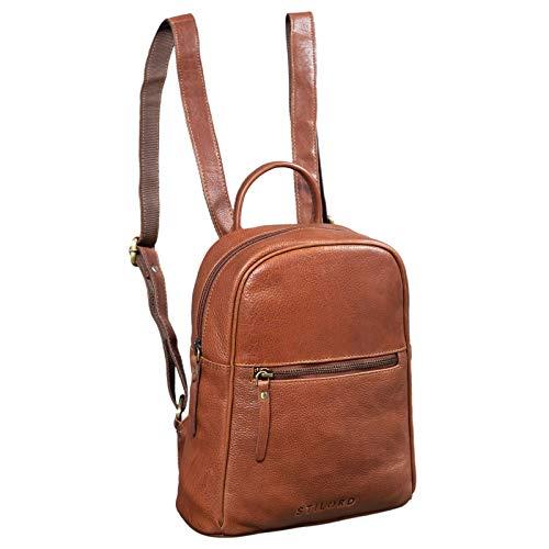 STILORD 'Scarlett' Rucksack Damen Klein Leder Rucksackhandtasche Lederrucksack für iPad & 10.1 Zoll Tablet Handtasche City Ausgehen Shopping Daypack, Farbe:Texas - braun