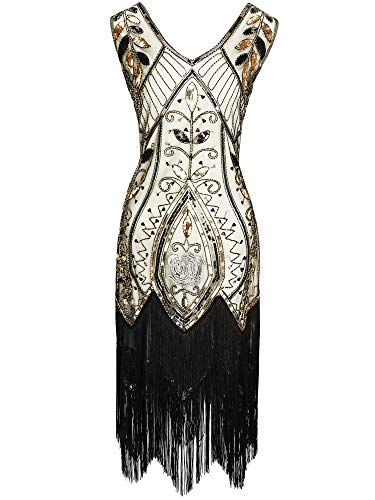 SATINIOR Vestido Vintage de los Años de 1920 de Mujeres Vestido Deco de Arte de Abalorios con Cuello V Fleco Lentejuelas para Fiesta de Graduación