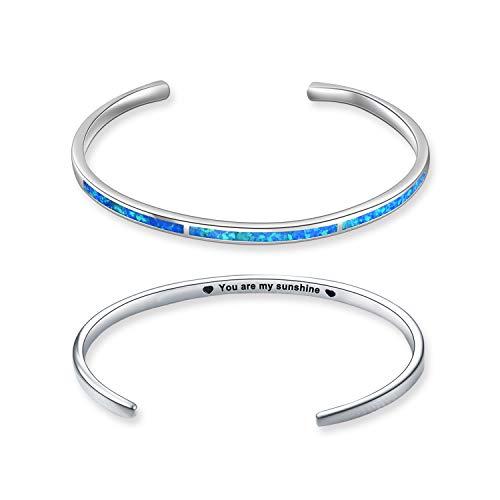 WINNICACA Oktober Birthstone Armband Sterling Silber erstellt Blue Fire Opal verstellbare Armreif Schmuck Geschenke für Frauen Männer Geburtstag, graviert