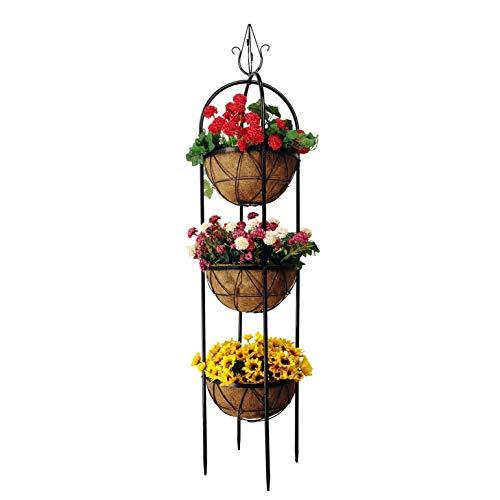 OUTOUR Obelisk Trellis Planter Flower Pots Stands Holder 3 Planter Baskets with 12 Inch Coco Coir Liner for Home Indoor Outdoor Porch Garden Patio Lawn Yard Door Decoration …