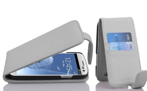 Cadorabo Funda para Samsung Galaxy S3 / S3 Neo in Blanco NÍVEO - Cubierta Proteccíon Estilo Flip con Tarjetero - Etui Case Cover Carcasa