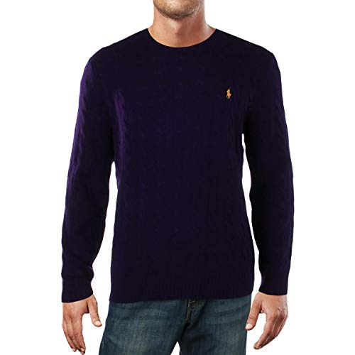 Ralph Lauren Mens Cashmere Blend Cable Knit Sweater, Purple, XX-Large