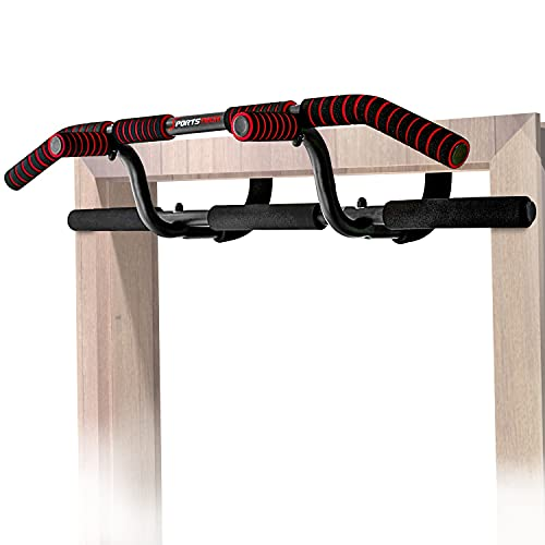 Sportstech Barra trazioni 6in1 incl. Dip Bar & Power Ropes, Senza viti, barra Pull-Up KS600 multifunzione + eBook GRATUITO
