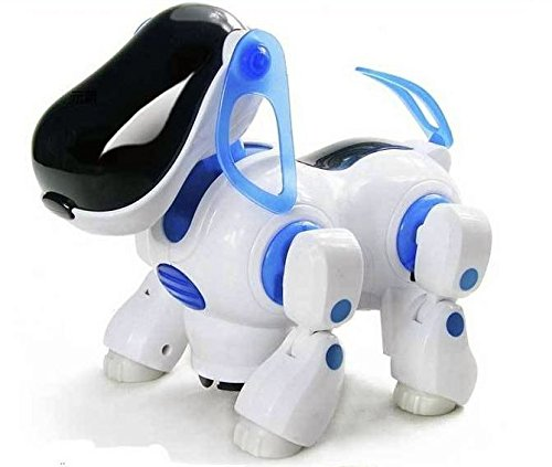 NMIT Childrens i-Robot Dog Puppy Dog, Flashing Light & Sound - Walks, Runs, Barks, Bump 'n' Go Robot Dog Light Up Girls Boys Toys with Sound Kids Pet (NM11- Blue)