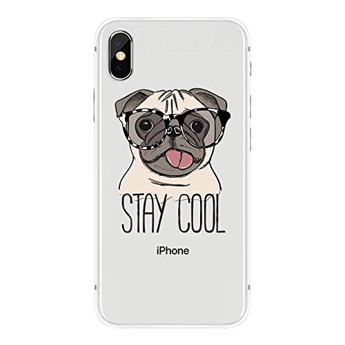 iPhone XR Case,Blingy's New Fun Dog Style Transparent Clear Soft TPU Protective Case Compatible for iPhone XR (Stay Cool Dog)