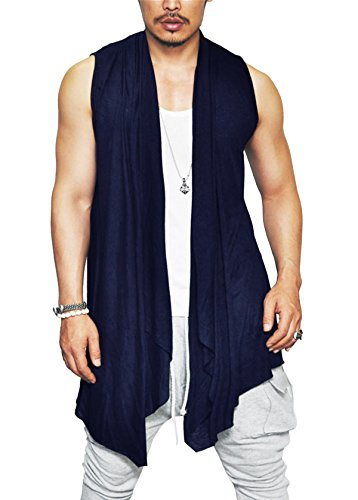 Coofandy Men's Ruffle Shawl Collar Sleeveless Long Cardigan Vest,Navy Blue,Large