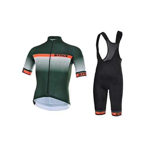 Threeface Divisa Estiva Ciclismo Raised Maglia + Pantaloncino Made in Italy (Verde/Arancio, S)