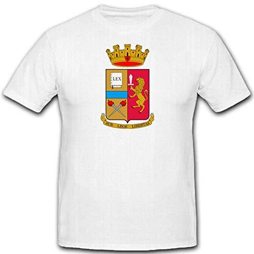 Polizia di Stato Stato polizia Italia Dipartimento della Pub blica sicu rezza Stemma Distintivo Emblem–T shirt uomo bianco # 2433 bianco Large