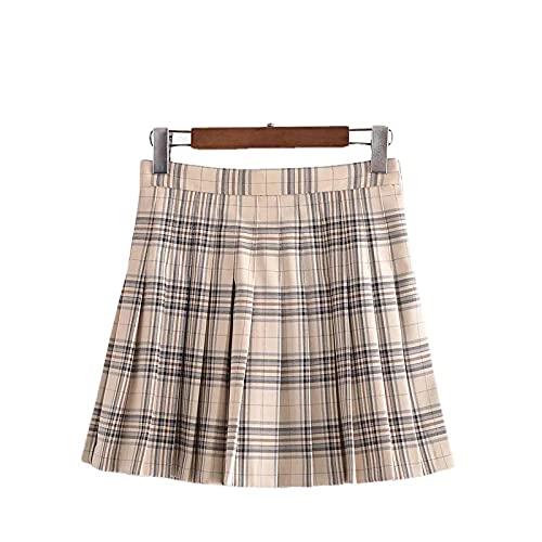 ERTYUIO Petticoats Plaid High-Waist Skirt Pleated Skirt Female Short Skirts-A_S