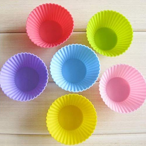 Silicone Baking Cups Reusable,5Pcs Round Star Heart Flower Non-stick Cake Muffin Cupcake Liner Baking Cups Random Color 5PCS-Round