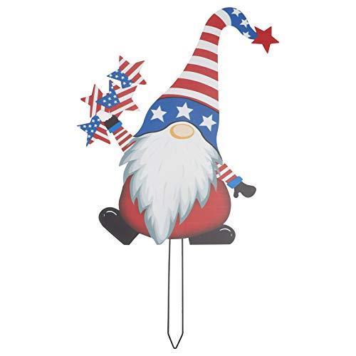 Cabilock Zwerg Figur Metall Gartenstecker USA Flagge Gartenzwerg Figuren Gartenfiguren Tomte GNOME Garten Statue Gartendeko Rost Stecker für Rasen Terrassen Amerikanischer Unabhängigkeitstag Deko