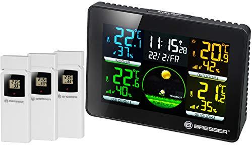 Bresser Wetterstation Funk mit Außensensor Thermo Hygro Quadro NLX mit 4 unterschiedlichen Messpunkten inklusive 3 Außensensoren für Temperatur und Luftfeuchtigkeit