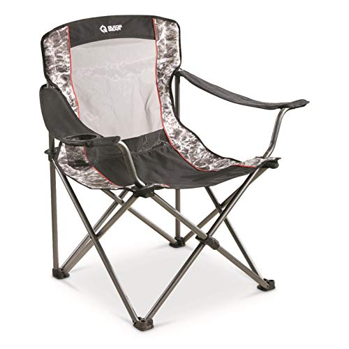 Guide Gear Oversized Quad Camping Chair, 500-lb. Capacity, Mossy Oak Elements Agua, Mossy Oak Agua Manta