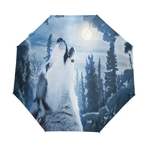 Hunihuni Regenschirm mit Heulender Wolf, automatisch, faltbar, Winddicht, wasserdicht, UV-Schutz, Sonnenschutz