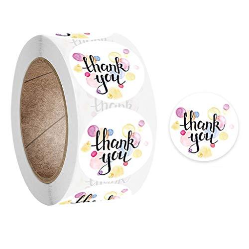 FOLODA 500 plantillas troqueladas redondas de agradecimiento hechas a mano para envolver regalos, etiquetas de sellos para bodas, álbumes de recortes, artículos de papelería, decoración