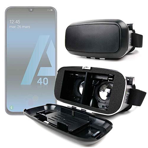 Duragadget - Maschera VR per realtà virtuale rigida per smartphone Samsung Galaxy A20 (A205F), A20e, A40 (A405F), A10 (A105F)