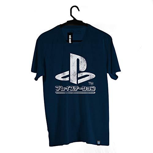 Camiseta Brand Logo Japonês, Playstation, Adulto Unissex, Azul Escuro, 4G