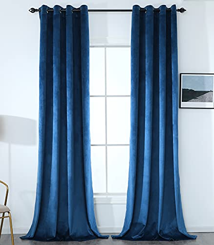 Holonewanner Navy Blue Velvet Blackout Curtains ,W52 x L96 Inch Super Soft Thermal Insulation Velvet-Curtain for Living Room, Bedroom and Guest Room, 2 Panels