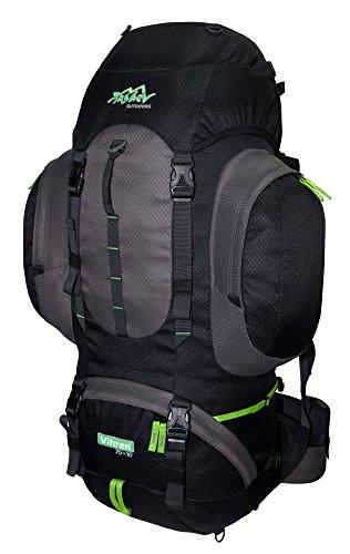 Tashev Outdoors Vihren trekkingrugzak wandelrugzak dames heren backpacker rugzak groot 70l plus 10l (gemaakt in EU), zwart, grijs en groen. (zwart) - Vihren 70