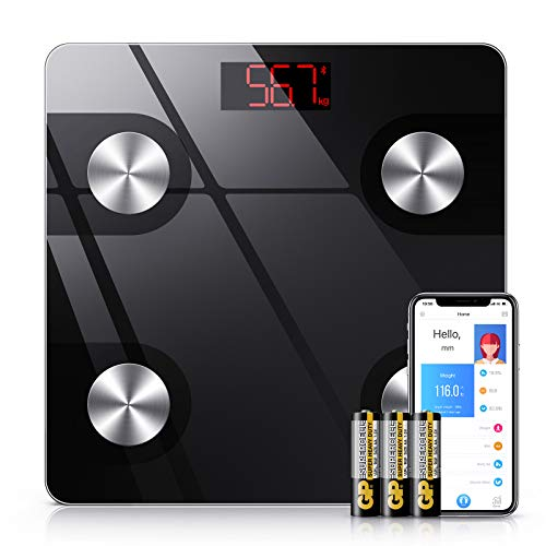 NBPOWER Körperfettwaage, Bluetooth Personenwaage Körperanalysewaagen mit Smart App, Digitale Körperwaage mit 18 Körperdaten für BMI Körpergewicht Muskelfett - 4 Hochpräzise Sensoren