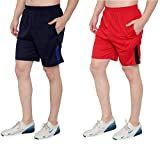 Dia A Dia Men's Polycotton Running Sports Gym Shorts Pack of 2 (Darkblue, Red, Free Size: 28-34...