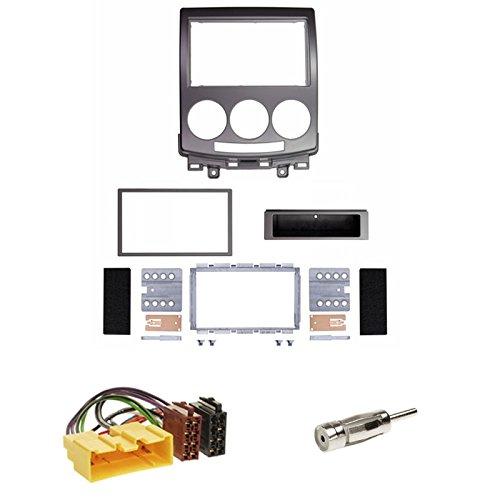 Einbauset : Autoradio Doppel-DIN 2-DIN Blende Einbaurahmen Radioblende silber + ISO Radio Adapter Kabel Adapterkabel + Antennenadapter für Mazda 5 (CR) 06/2005 - 09/2010