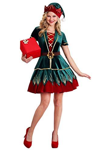 Women's Deluxe Holiday Elf Costume Elf Dress for Women Medium Green