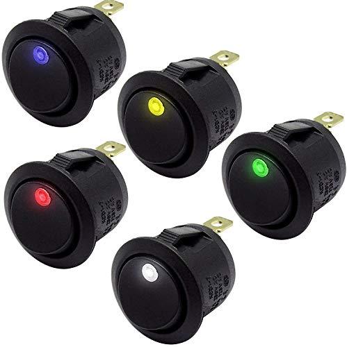mmtrade | 5x Kippschalter beleuchtet rund 12V/10A (je 1x weiß, blau, rot, gelb, grün) | ON-OFF Stellung, einrastbare mit Selbsthemmung runde Schalter Wippschalter