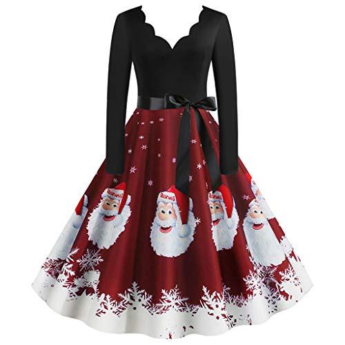 FAMILIZO Vestidos Navidad Mujer De La Navidad De Manga Larga O Cuello De Impresión Vintage Vestido De Fiesta De La...